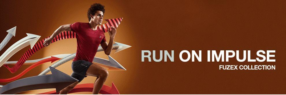 """Ein Mann läuft in einem roten Trainingsshirt. Der Text: """"Run on Impulse fuzeX Collection"""" steht auf der rechten Seite des Bildes."""