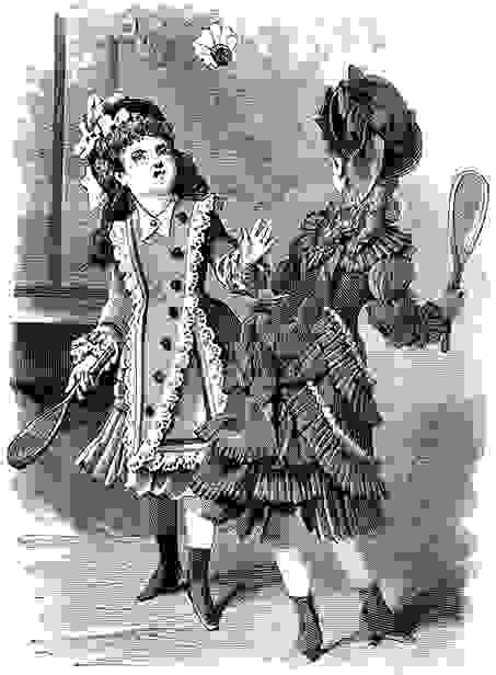 Ein gemaltes Bild von 2 Frauen, die Badminton spielen.