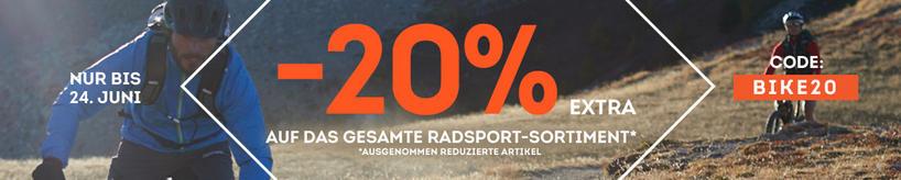 20 Prozent auf nicht reduzierte Radsportartikel