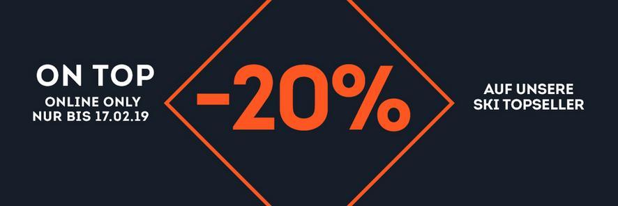 -20% on top auf unsere Ski Topseller