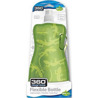 360° degrees Trinkflasche gecko on green