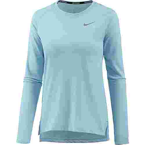 Nike Breathe Tailwind Laufshirt Damen ocean bliss-reflective silver