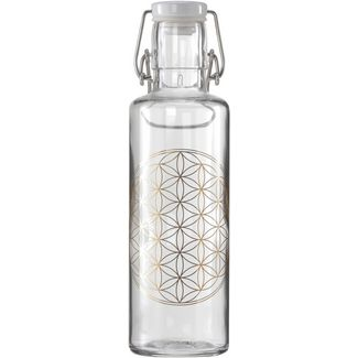soulbottles Flower of Life Trinkflasche transparent- gold