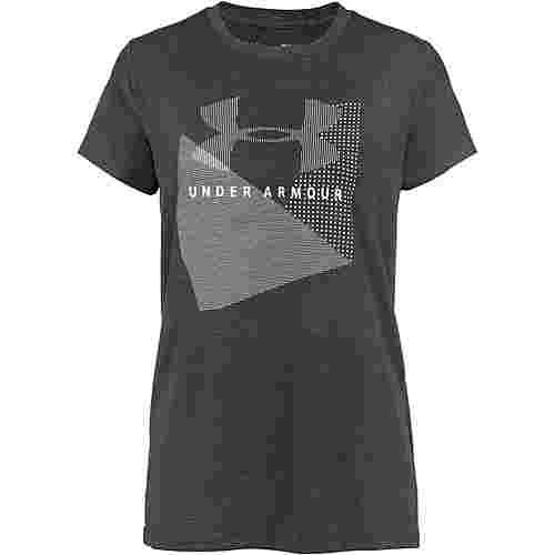 Under Armour Sportstyle Mesh Logo T-Shirt Damen charcoal medium heather-black