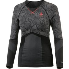 Odlo Blackcomb Evolution WARM Funktionsshirt Damen black-concrete grey-hot coral