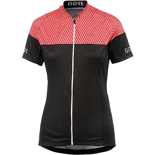 Gore C3 DAMEN OPTILINE TRIKOT Fahrradtrikot Damen black/coral glow