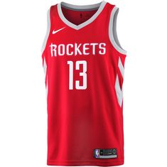 Nike JAMES HARDEN HOUSTON ROCKETS Basketball Trikot Herren UNIVERSITY RED/FLT SILVER