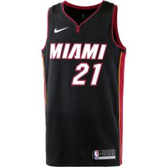 Nike HASSAN WHITESIDE MIAMI HEAT Basketball Trikot Herren BLACK/TOUGH RED