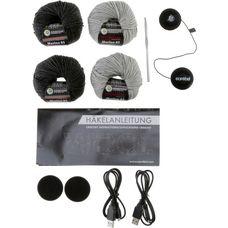 earebel Bluetooth Kopfhörer Häkelset Jack Beanie anthrazit-hellgrau