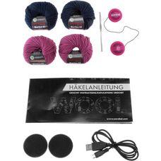 earebel Bluetooth Kopfhörer Häkelset Rosa Beanie pink-navyblau