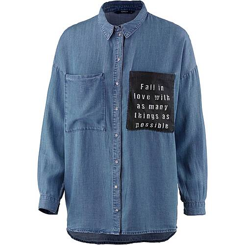 Only Langarmhemd Damen medium blue denim