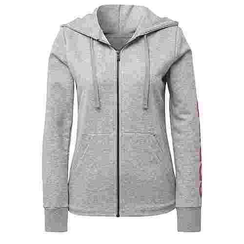 adidas Essentials Linear Kapuzen Hoodie Damen Medium Grey Heather/Real Pink