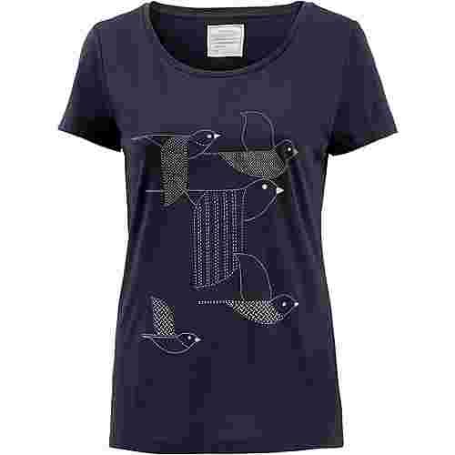 ARMEDANGELS Mari Birds Stacked T-Shirt Damen navy