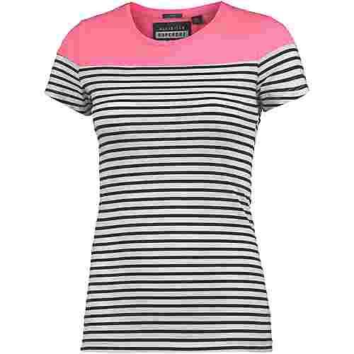 Superdry T-Shirt Damen Fluro Pink/Optic White Stripe