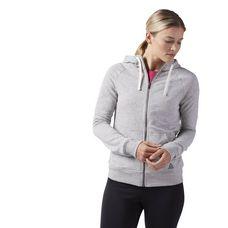 Reebok Elements French Terry Full Zip Hoodie Trainingsjacke Damen Medium Grey Heather