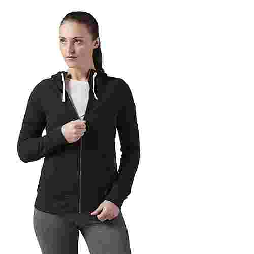 Reebok Elements French Terry Full Zip Hoodie Trainingsjacke Damen schwarz
