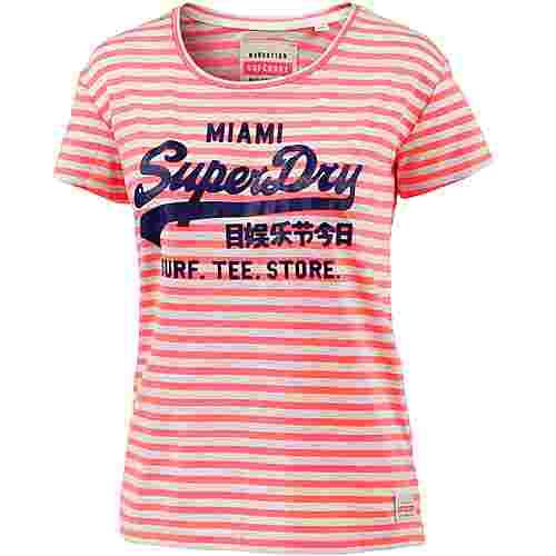 Superdry T-Shirt Damen Fluro Coral