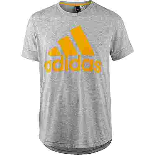 adidas ID BOS T-Shirt Herren medium grey heather-tactile yellow f17