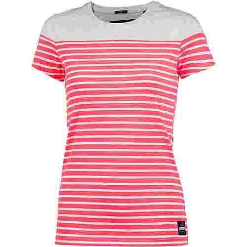 Superdry T-Shirt Damen Ice Marl/Reef Coral Stripe