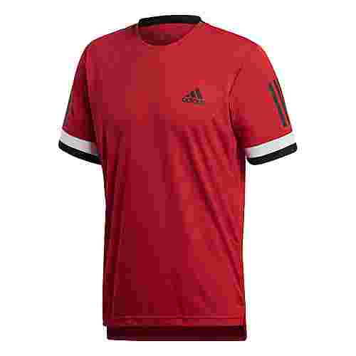 adidas 3-Streifen Club Tennisshirt Herren Scarlet
