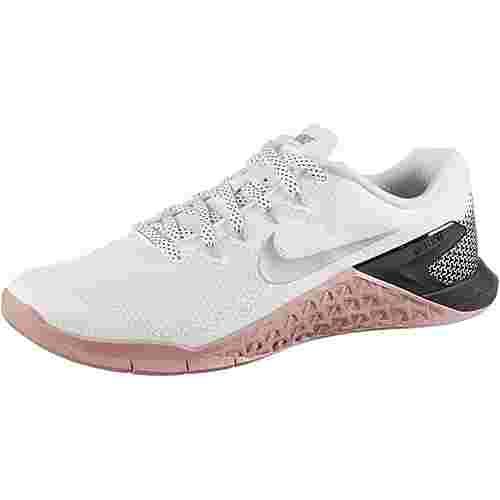 Nike Metcon 4 Fitnessschuhe Damen white-metallic silver-rust pink