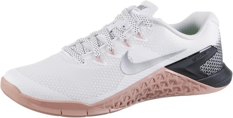nikemetcon 4 fitnessschuhedamen whitemetallic silverrust pink