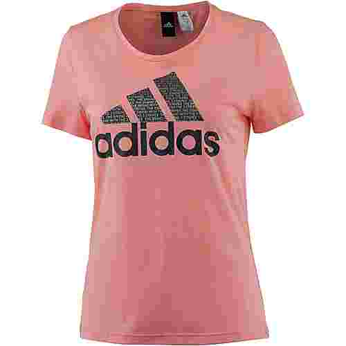 adidas Foil Text Bossed T-Shirt Damen trace pink