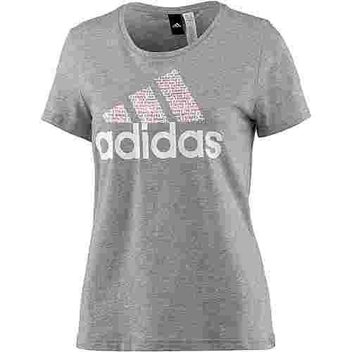 adidas Foil Text Bossed T-Shirt Damen medium grey heather