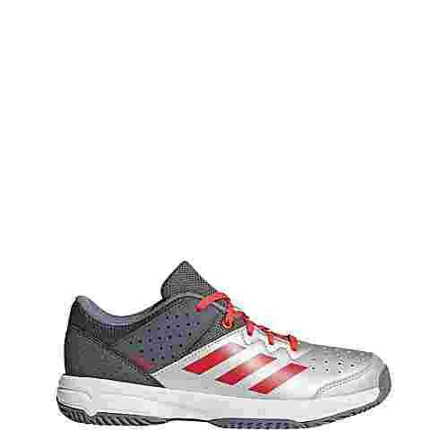 adidas Court Stabil JR Hallenschuhe Kinder Grey/Silver Metallic/Hi-Res Red
