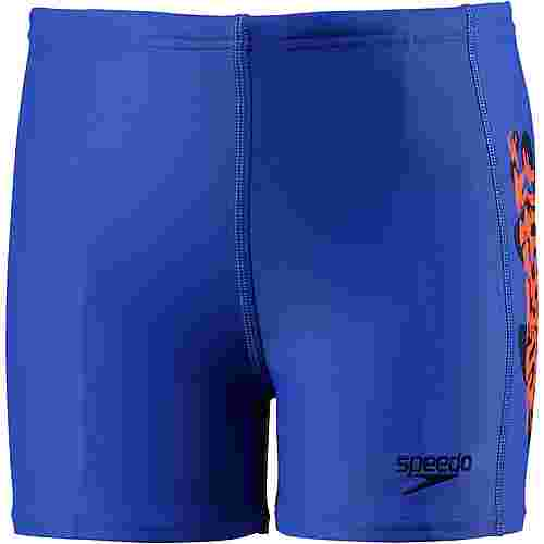 SPEEDO Electric Spritz Placement Badehose Kinder amparoblue-navy-fluoorange