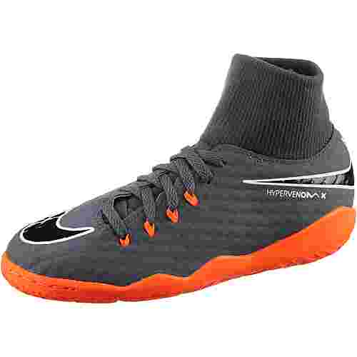 Nike JR HYPERVENOM PHANTOMX 3 ACADEMY DF IC Fußballschuhe Kinder dk grey/total orange-white