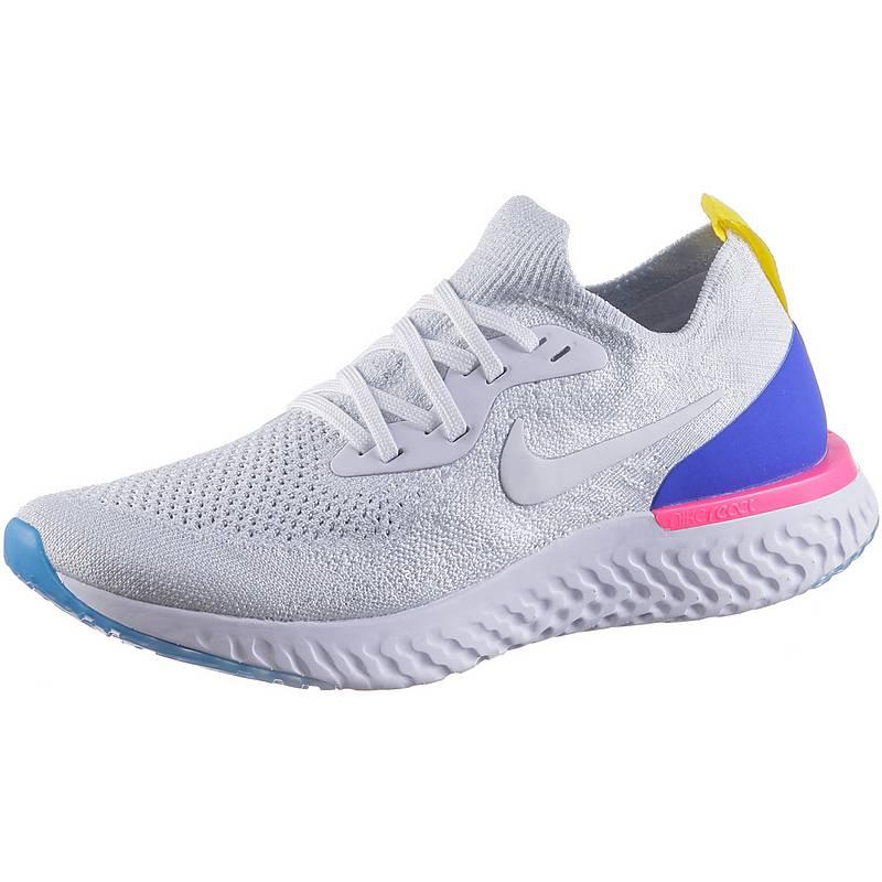 Nike EPIC REACT FLYKNIT Laufschuhe Damen Weiß Weiß racer Blau Rosa ... Erste Qualität