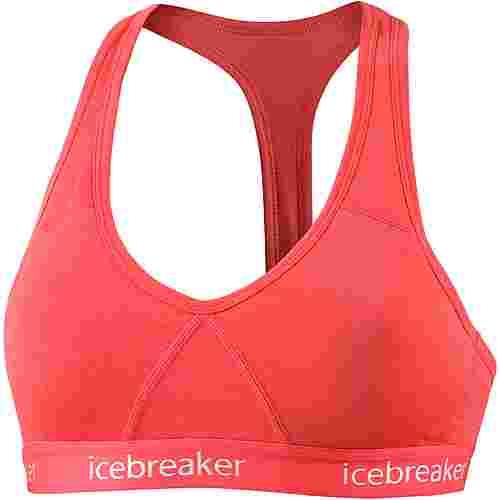 Icebreaker Sprite Merino Sport-BH Damen poppy red