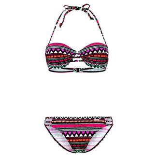 BRUNO BANANI Bikini Set Damen schwarz-pink-bedruckt