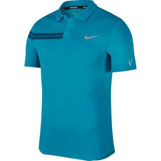 Nike Roger Federer Zonal Cooling Tennis Polo Herren NEO TURQ/NEO TURQ/BLUE FORCE/(METALLIC SILVER)