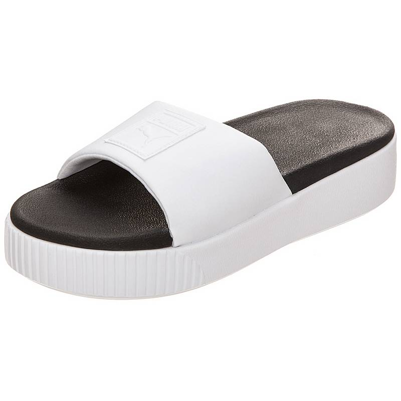 sale retailer c3131 b3380 PUMAPlatform Slide SandalenDamen weiß   schwarz