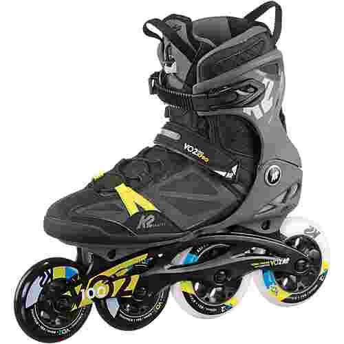 K2 V02 100 X Pro Fitness Skates schwarz-grau-gelb