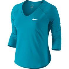 Nike W NKCT TOP PURE 3QT Tennisshirt Damen neo turq