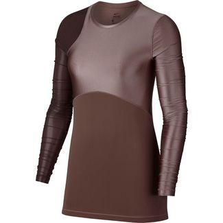 Nike Pro Hypercool Glamour Funktionsshirt Damen smokey mauve-burgundy crush-black