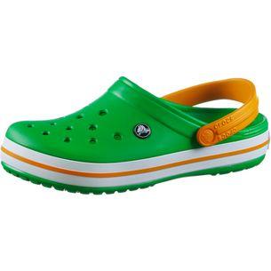 Crocs Crocband Badelatschen grass green/white/blazing orange