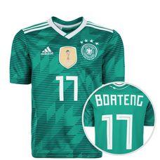adidas DFB WM 2018 Auswärts Boateng Fußballtrikot Kinder grün / weiß / türkis