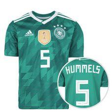adidas DFB WM 2018 Auswärts Hummels Fußballtrikot Kinder grün / weiß / türkis