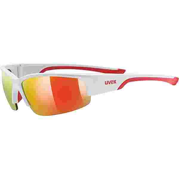Uvex Sportstyle 215 Sportbrille white mat red/mirror red