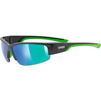 Uvex Sportstyle 215 Sportbrille black mat green/mirror green