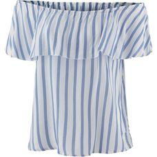 Only Kurzarmbluse Damen cloud-dancer; Blue Stripes
