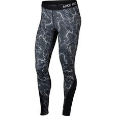 Nike Pro Print Chain Feather Tights Damen wolf grey-black-black