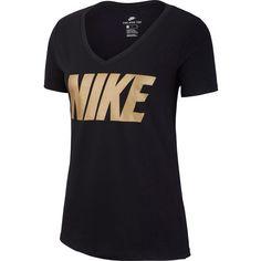 Nike T-Shirt Damen black/metallic gold