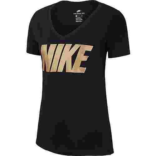 Nike T-Shirt Damen black/metallic gold im Online Shop von ...