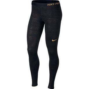 Nike Pro Tights Damen black/metallic gold