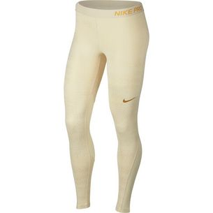 Nike Pro Tights Damen light cream/metallic gold